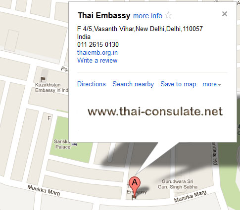 map Thai Embassy in India