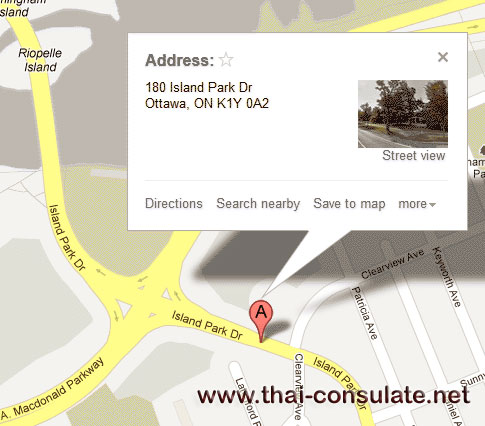 Map - Thai Embassy in Canada
