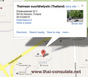 map Thai Embassy Finland