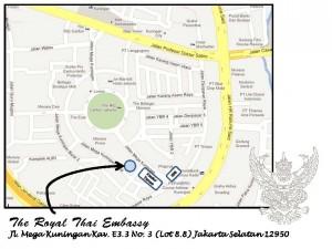 Map Thai Embassy Indonesia