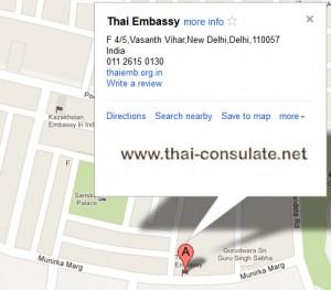 map Thai Embassy in India