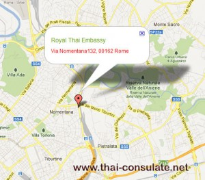 map Thai Embassy in Italy