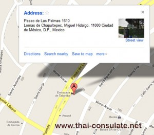 map Thai Embassy in Mexico