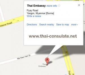 map Thai Embassy in Myanmar
