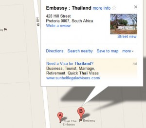 map Thai Embassy in South Africa